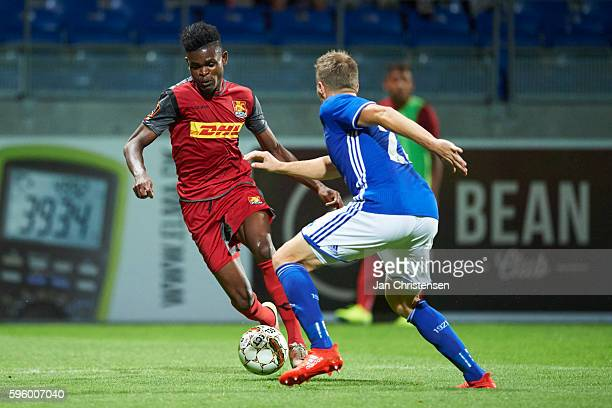 Godsway Donyoh of FC Nordsjalland and Thomas Sorensen of Lyngby BK compete for the ball during the Danish Alka Superliga match between Lyngby BK and...