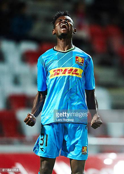 Godsway Donyoh of FC Nordsjalland celebrates after scoring their first goal during the Danish Alka Superliga match between Silkeborg IF and FC...