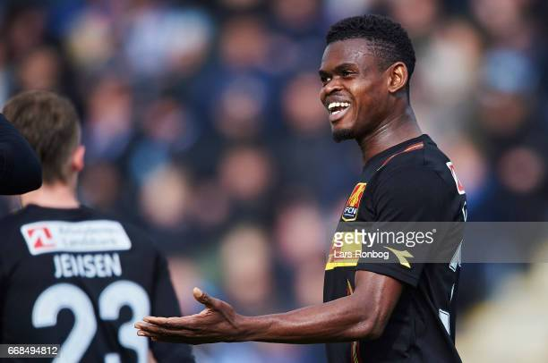 Godsway Donyoh of FC Nordsjalland celebrates after scoring their third goal during of FC Nordsjalland the Danish Alka Superliga match between...