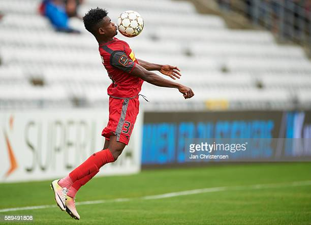 Godsway Donyoh of FC Nordsjalland controls the ball during the Danish Alka Superliga match between OB Odense and FC Nordsjalland at TREFOR Park on...