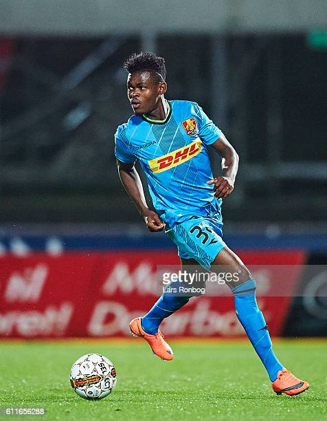 Godsway Donyoh of FC Nordsjalland controls the ball during the Danish Alka Superliga match between Silkeborg IF and FC Nordsjalland at Mascot Park on...