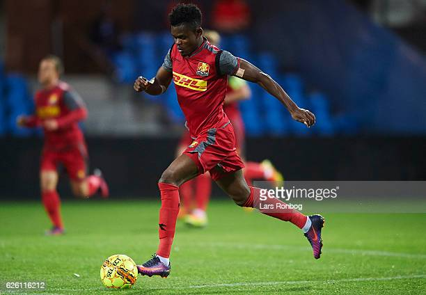 Godsway Donyoh of FC Nordsjalland controls the ball during the Danish Alka Superliga match between Esbjerg fB and FC Nordsjalland at Blue Water Arena...