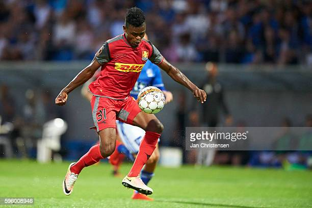Godsway Donyoh of FC Nordsjalland in action during the Danish Alka Superliga match between Lyngby BK and FC Nordsjalland at Lyngby Stadion on August...