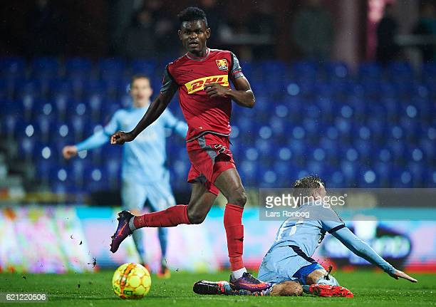 Godsway Donyoh of FC Nordsjalland in action during the Danish Alka Superliga match between Randers FC and FC Nordsjalland at BioNutria Park on...