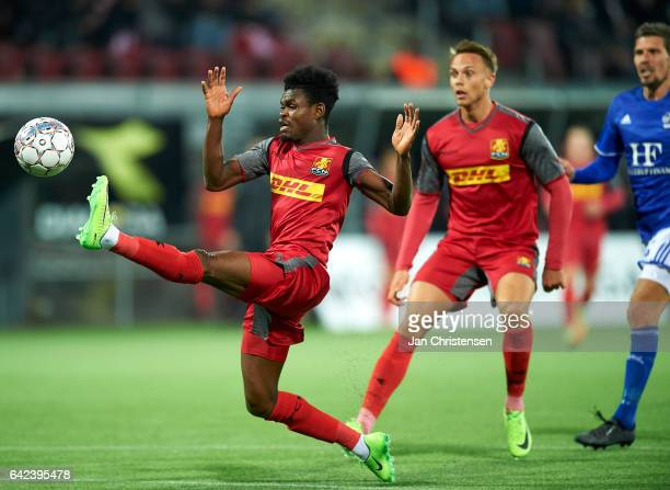 Godsway Donyoh of FC Nordsjalland in action during the Danish Alka Superliga match between FC Nordsjalland and Lyngby BK at Right to Dream Park on...
