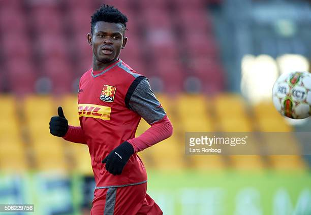 Godsway Donyoh of FC Nordsjalland looks on during the FC Nordsjalland and IF Elfsborg friendly match at Farum Park on January 22 2016 in Farum Denmark