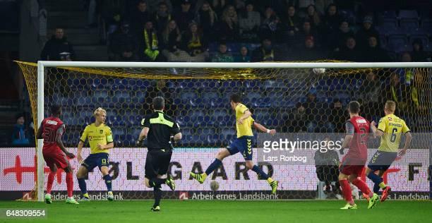 Godsway Donyoh of FC Nordsjalland scores the 11 goal during the Danish Alka Superliga match between Brondby IF and FC Nordsjalland at Brondby Stadion...