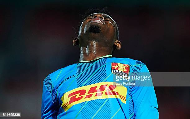 Godsway Donyoh of FC Nordsjalland shows frustration during the Danish Alka Superliga match between Silkeborg IF and FC Nordsjalland at Mascot Park on...