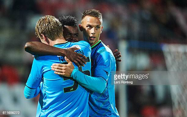 Godsway Donyoh Victor Nelsson and Marcus Ingvartsen of FC Nordsjalland celebrate after scoring their first goal duringthe Danish Alka Superliga match...