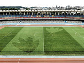Godzilla's giant footprints are seen in Todoroki Stadium on July 20 2016 in Kawasaki Kanagawa Japan The giant marks are a promotional gimmick for...