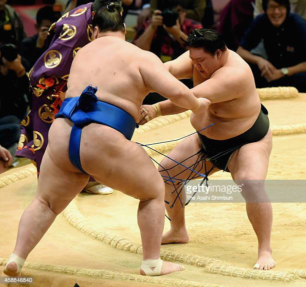 Goeido pushes Ichinojo out of the ring during day four of the Grand Sumo Kyushu Tournament at Fukuoka Covention Center on November 12 2014 in Fukuoka...