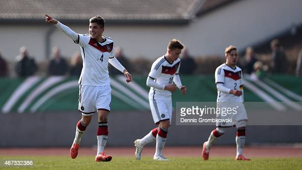 Goekhan Guel of Germany celebrates as he scores the second goal during the UEFA Under 17 Elite Round match between Germany and Ukraine at...