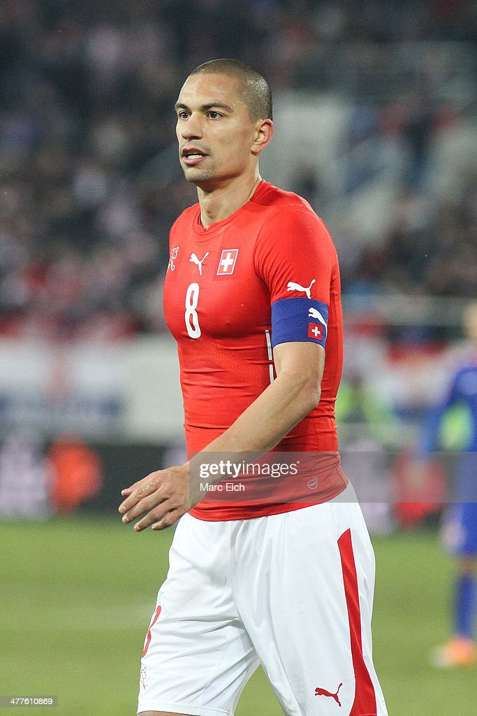 <a gi-track='captionPersonalityLinkClicked' href=/galleries/search?phrase=Goekhan+Inler&family=editorial&specificpeople=745618 ng-click='$event.stopPropagation()'>Goekhan Inler</a> of Switzerland looks onduring the international friendly match between Switzerland and Croatia at the AFG Arena on March 5, 2014 in St Gallen, Switzerland.