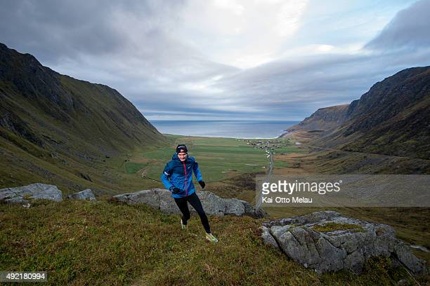 Goeran Rasmussen Aaland running above the Unstad beach wich is known for it`s great surf on October 10 2015 in Svolvar Norway Only Svein Vestoel will...