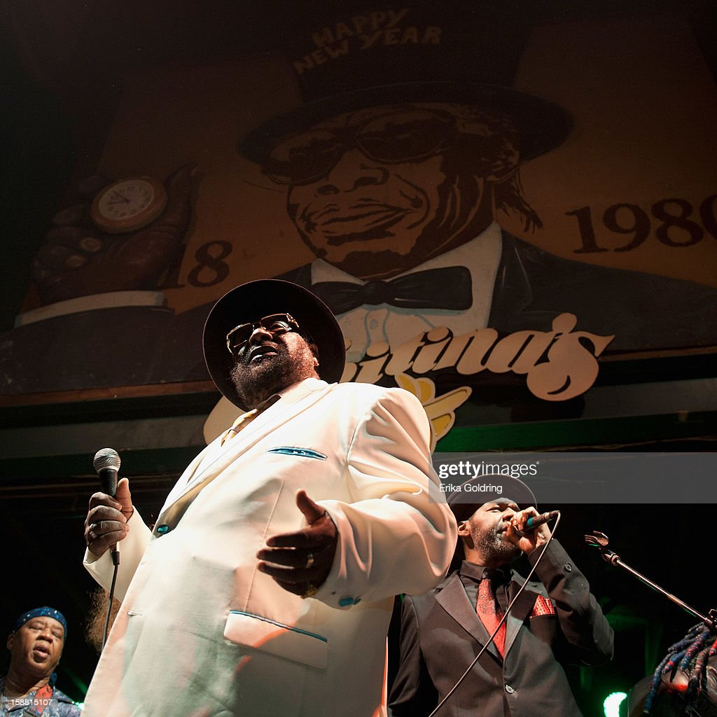 Goerge Clinton (center) of George Clinton and Parliament Funkadelic perform at Tipitina's on December 29, 2012 in New Orleans, Louisiana.