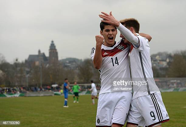 Goerkem Saglam and Johannes Eggestein of Germany celebrate the equalizer 22 goal during the UEFA Under17 Elite Round match between U17 Italy and U17...