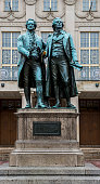 Statue of Goethe and Schiller in Weimar, Germany.