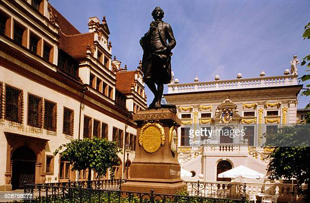 Goethe Monument in front of the Old Stock Exchange in Leipzig, Germany