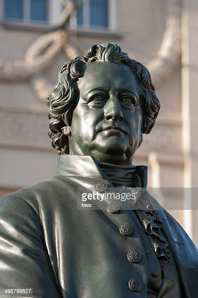 Goethe-Schiller monument, sculpture of Goethe, Weimar, Thuringia, Germany