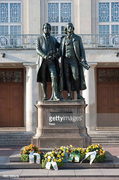 Goethe-Schiller Monument, wreaths at the base, Weimar, Thuringia, Germany