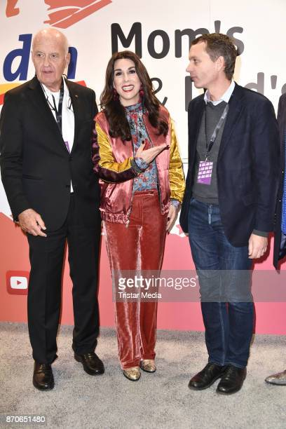 Goetz Werner with his son Christoph Werner and Judith Williams during the GLOW The Beauty Convention at Station on November 4 2017 in Berlin Germany