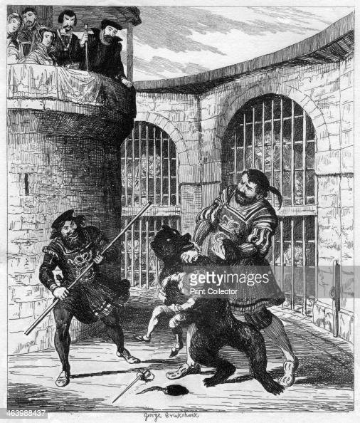 Gog extricating Xit from the bear in the Lions' Tower 1840 A print from The Tower of London a Historical Romance by William Harrison Ainsworth