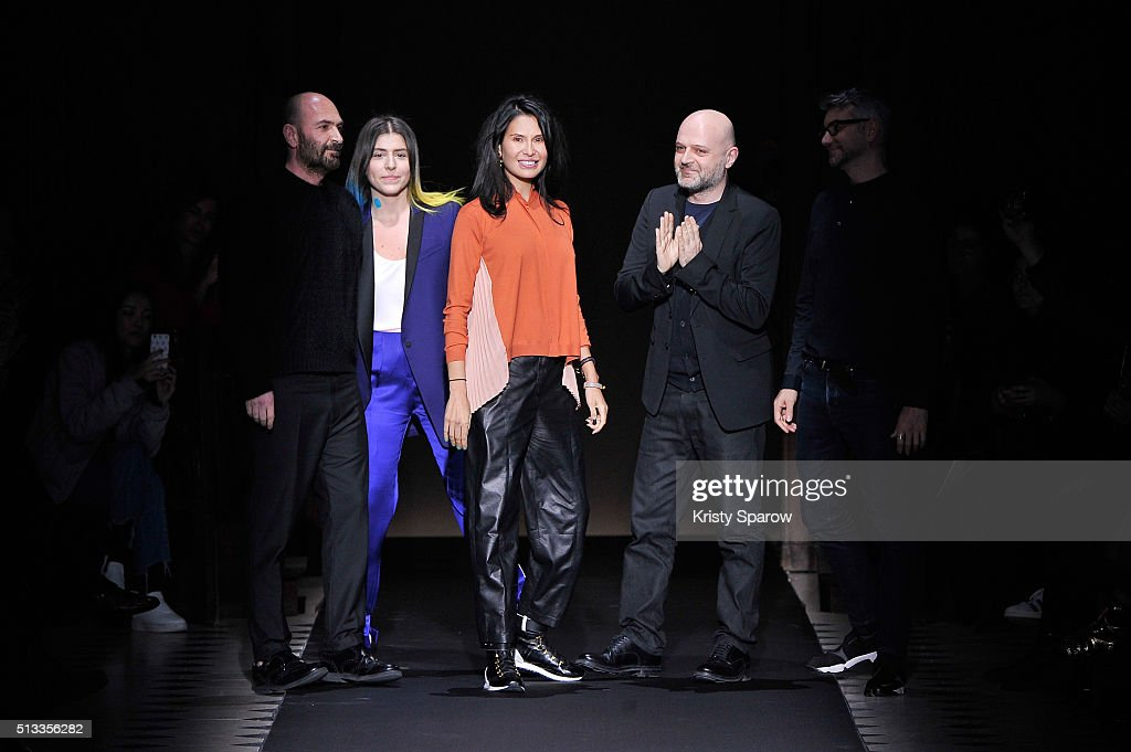 Goga Ashkenazi and Hussein Chalayan acknowledge the audience during the Vionnet show as part of Paris Fashion Week Womenswear Fall/Winter 2016/2017...