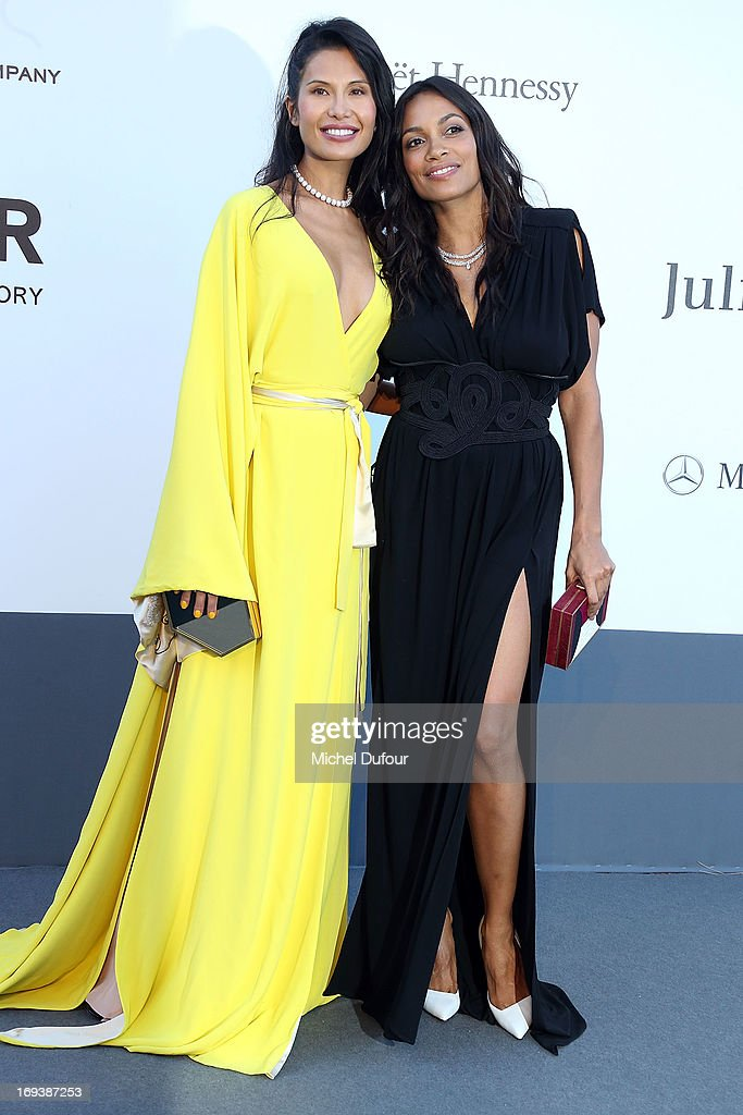 Goga Ashkenazi and Rosario Dawson arrive at amfAR's 20th Annual Cinema Against AIDS at Hotel du Cap-Eden-Roc on May 23, 2013 in Cap d'Antibes, France.