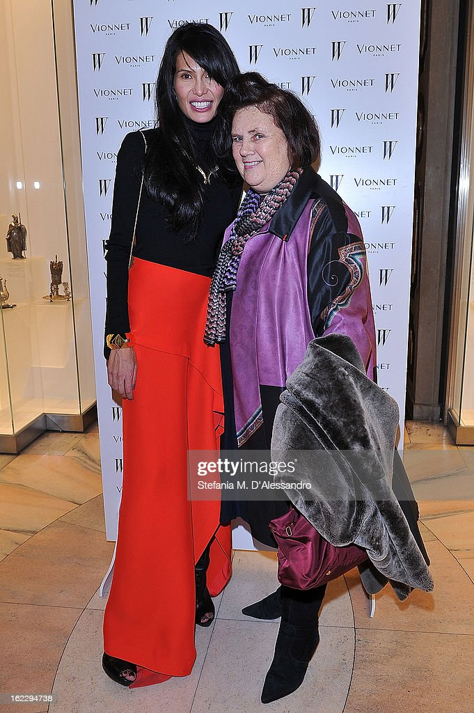 Goga Ashkenazi and Suzy Menkes attend W And Vionnet Hosts The Thayaht Exhibition on February 21, 2013 in Milan, Italy.