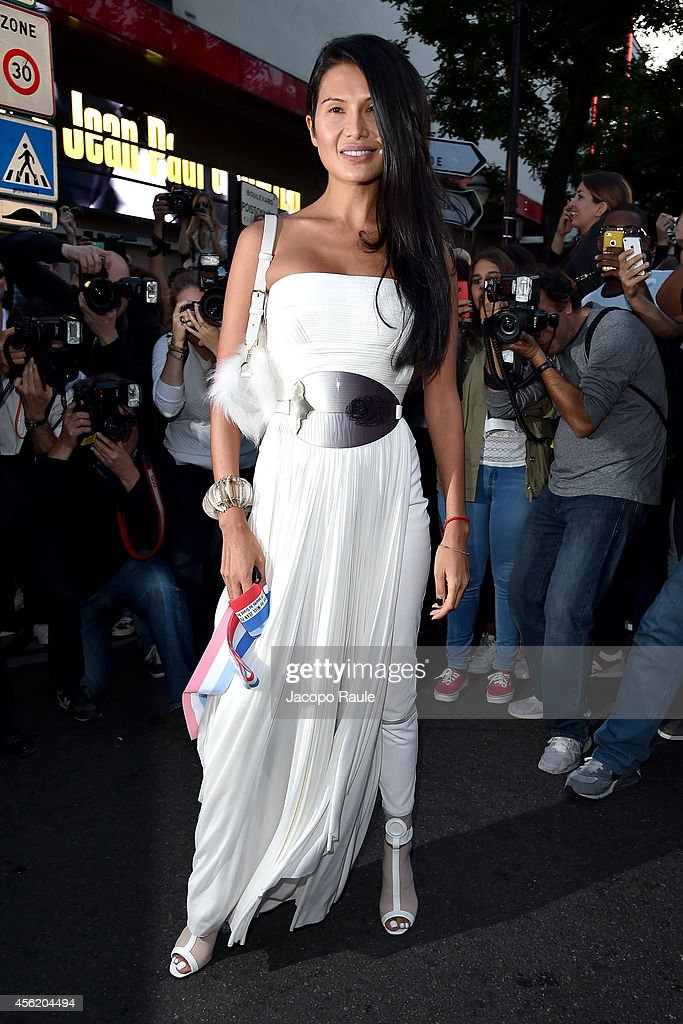 Goga Ashkenazi arrives at Jean Paul Gaultier Fashion Show during Paris Fashion Week Womenswear SS 2015 on September 27 2014 in Paris France