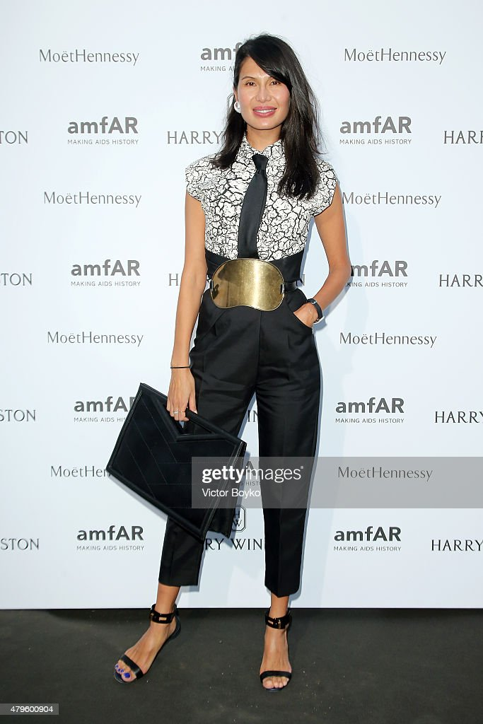 Goga Ashkenazi attends the amfAR dinner at the Pavillon LeDoyen during the Paris Fashion Week Haute Couture on July 5 2015 in Paris France