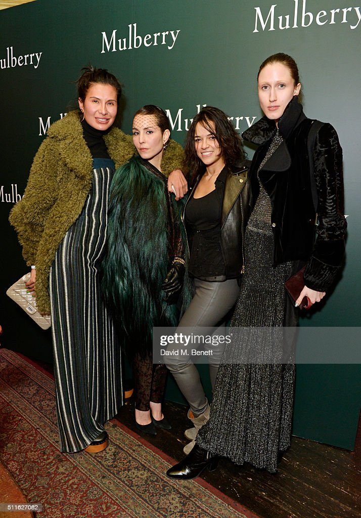 Goga Ashkenazi Noomi Rapace Michelle Rodriguez and Anna Cleveland attend the Mulberry LFW Autumn/Winter 2016 Show After Party at The Box on February...