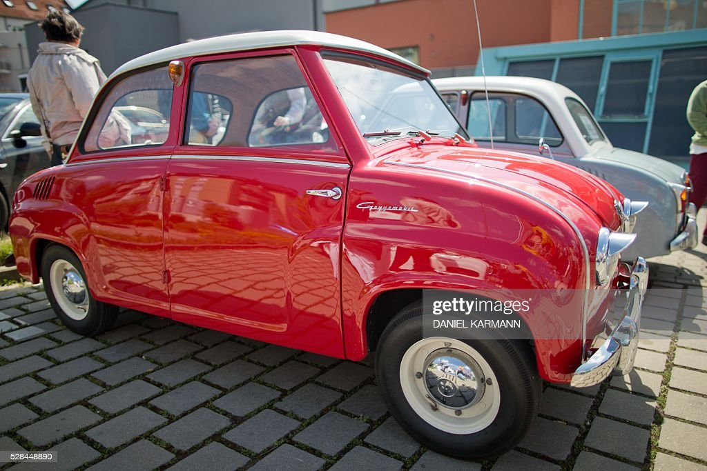 A Goggomobil is pictured on May 5, 2016 during a Goggo Oldtimer meeting in Nurnberg. / AFP / dpa / Daniel Karmann / Germany OUT