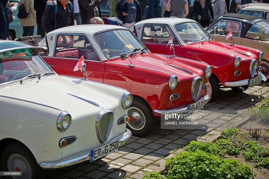 Goggomobils are pictured on May 5, 2016 during a Goggo Oldtimer meeting in Nurnberg. / AFP / dpa / Daniel Karmann / Germany OUT