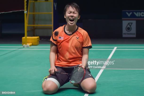 Goh Jin Wei of Malaysia celebrates her victory against Soniia Cheah of Malaysia during the women's singles badminton final at the 29th Southeast...