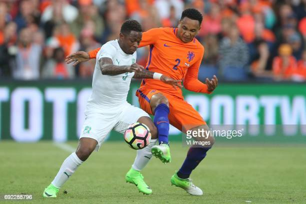 Gohi Bi Cyriac of Ivory Coast Kenny Tete of Hollandduring the friendly match between The Netherlands and Ivory Coast at the Kuip on June 4 2017 in...