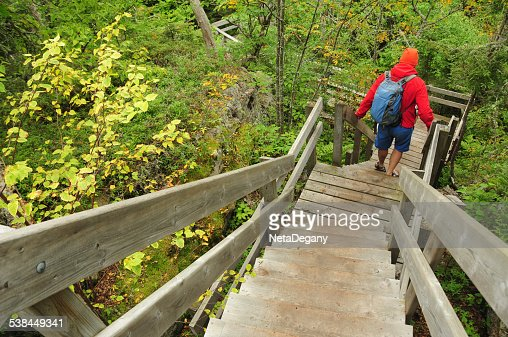Going down a foot path in Pukaskwa National Park, Canada