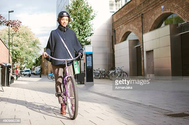 Going to work with bicycle