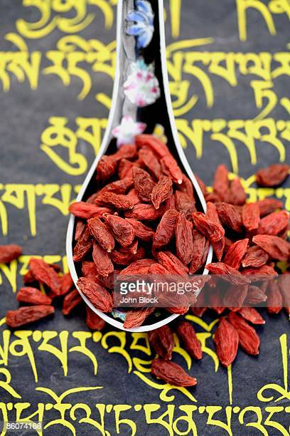Goji berries and Tibetan script