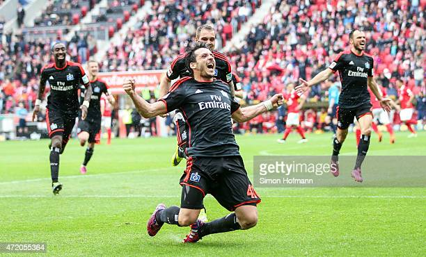 Gojko Kacar of Hamburg celebrates his team's second goal during the the Bundesliga match between 1 FSV Mainz 05 and Hamburger SV at Coface Arena on...