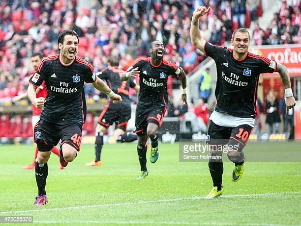 Gojko Kacar of Hamburg celebrates his team's second goal with team mate PierreMichel Lasogga during the the Bundesliga match between 1 FSV Mainz 05...