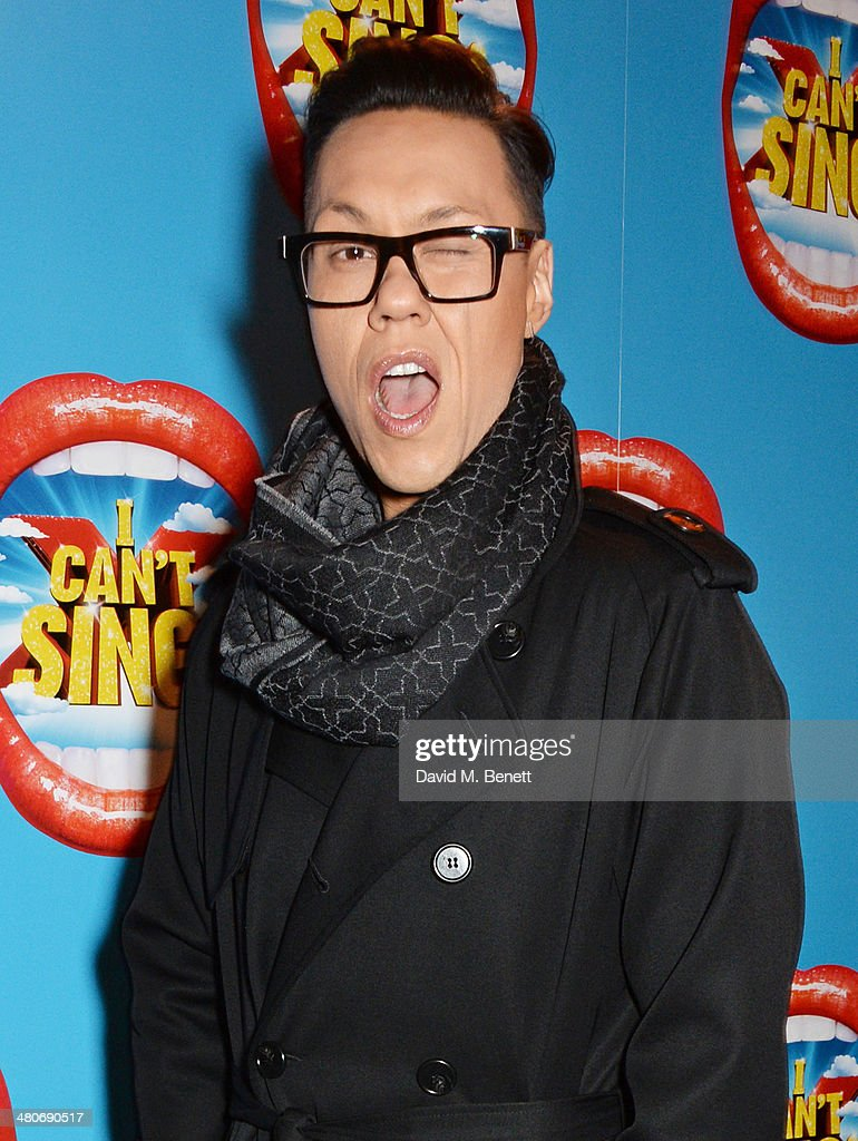 <a gi-track='captionPersonalityLinkClicked' href=/galleries/search?phrase=Gok+Wan&family=editorial&specificpeople=4262870 ng-click='$event.stopPropagation()'>Gok Wan</a> arrives at the press night performance of 'I Can't Sing! The X Factor Musical' at the London Palladium on March 26, 2014 in London, England.