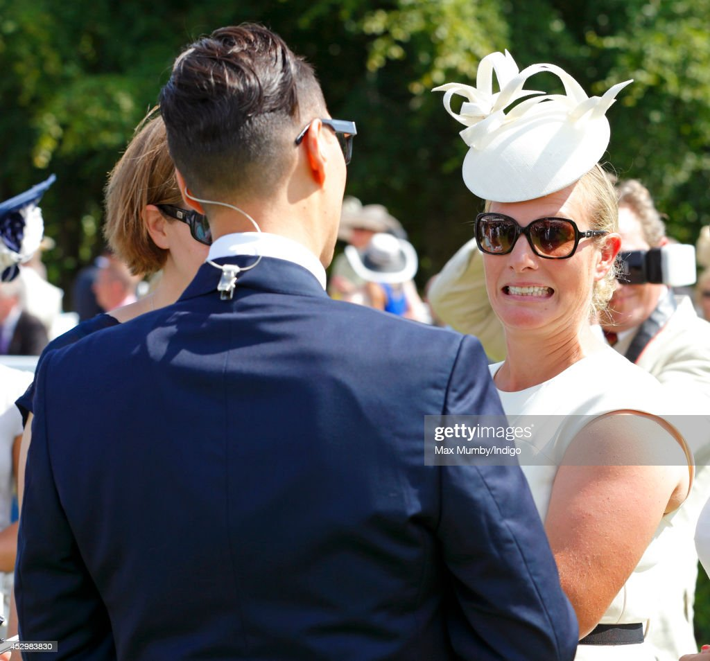 Gok Wan interviews Zara Phillips for Channel 4 Racing during Ladies Day of Glorious Goodwood at Goodwood Racecourse on July 31, 2014 in Chichester, England.