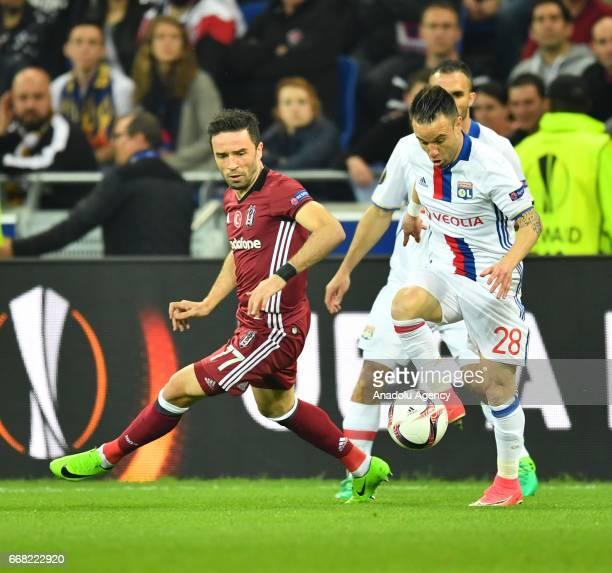 Gokhan Gonul of Besiktas in action during the UEFA Europa League first leg quarter final football match between Olympique Lyonnais and Besiktas JK at...