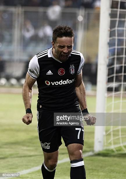Gokhan Gonul of Besiktas reacts during the Turkish Spor Toto Super Lig match between Adanaspor and Besiktas at Adana 5 Ocak Fatih Terim Stadium in...