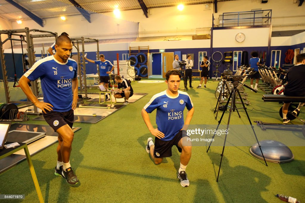 Gokhan Inler and Ben Chilwell during the testing session as the first set of Leicester City Players return for pre-season at Belvoir Drive Training Complex on July 1, 2016 in Leicester, United Kingdom.