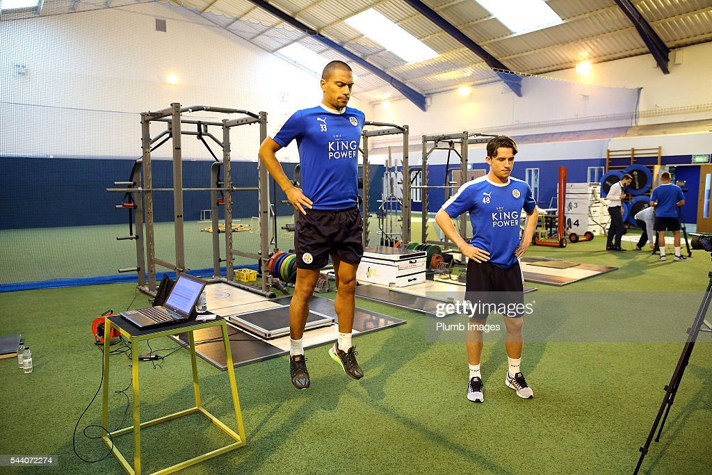 Gokhan Inler and <a gi-track='captionPersonalityLinkClicked' href=/galleries/search?phrase=Ben+Chilwell&family=editorial&specificpeople=12483302 ng-click='$event.stopPropagation()'>Ben Chilwell</a> during the testing session as the first set of Leicester City Players return for pre-season at Belvoir Drive Training Complex on July 1, 2016 in Leicester, United Kingdom.
