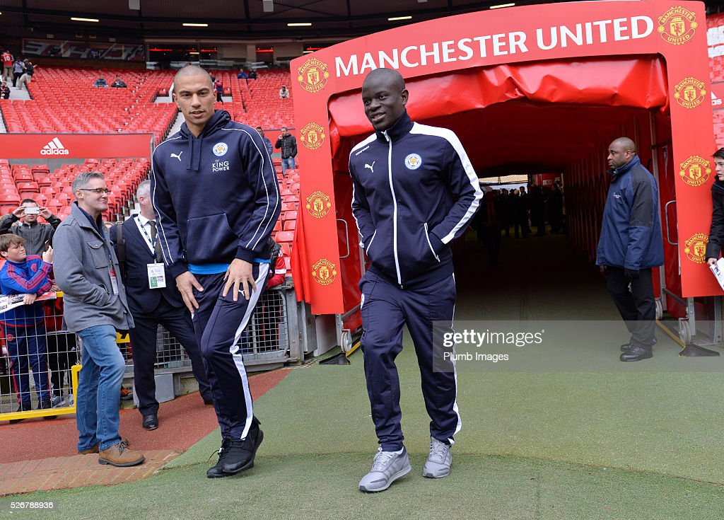 Gokhan Inler and N'Golo Kante of Leicester City at Old Trafford ahead of the Premier League match between Manchester United and Leicester City at Old Trafford on May 01, 2016 in Manchester, United Kingdom.