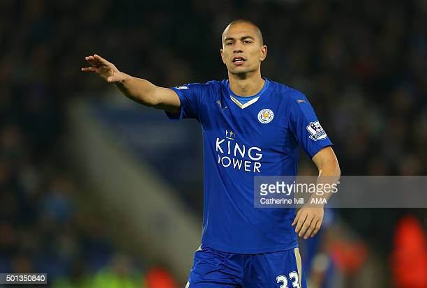 Gokhan Inler of Leicester City during the Barclays Premier League match between Leicester City and Chelsea at the King Power Stadium on December 14...