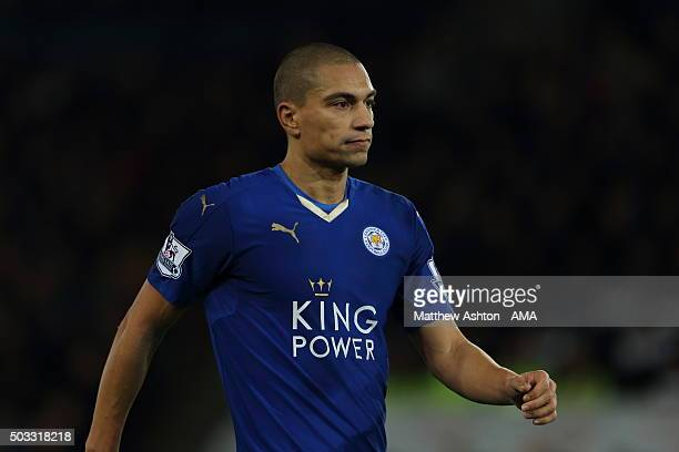 Gokhan Inler of Leicester City during the Barclays Premier League match between Leicester City and Manchester City at The King Power Stadium on...